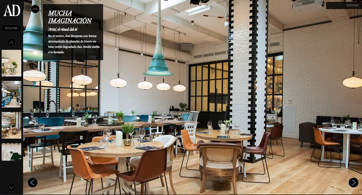 Image of the Artte restaurant in Barcelona with the Girón leather chair from Sol&Luna