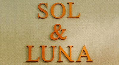 Image of the Sol&Luna logo covered in leather
