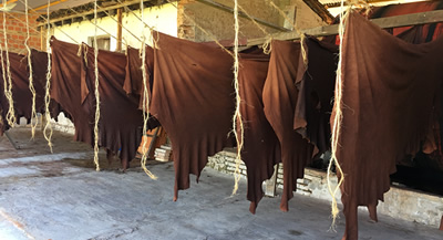 The cow leather drying before being used in Sol&Luna´s products