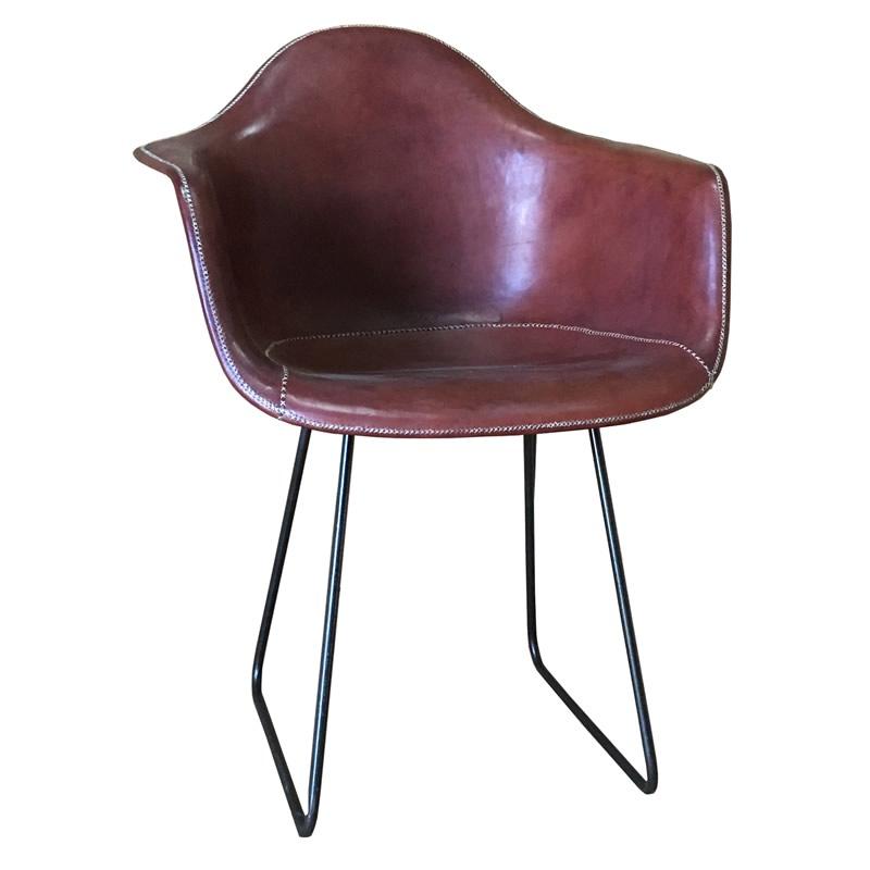 Imagen de sillón Sidney cuero marrón PN804F de Sol&Luna