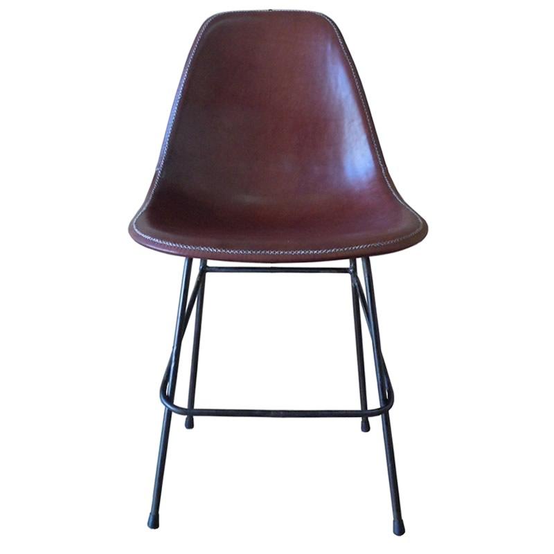 Imagen frontal silla Beto cuero marrón PN803B