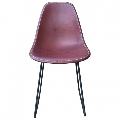 front position of the brown leather chair Sidney PN803F from Sol&Luna