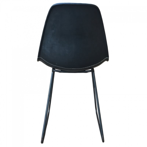 Back side position of the black leather Armchair Sidney PN803F from Sol&Luna