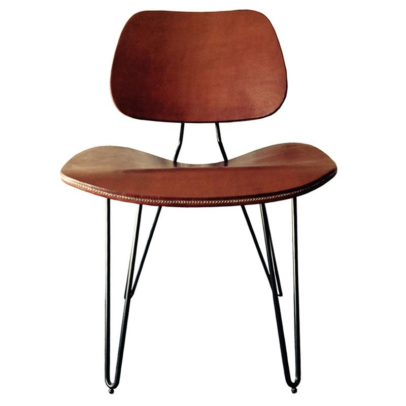Silla Nordic estructura de hierro y asiento y respaldo forrado en cuero marrón PN817 Sol&Luna