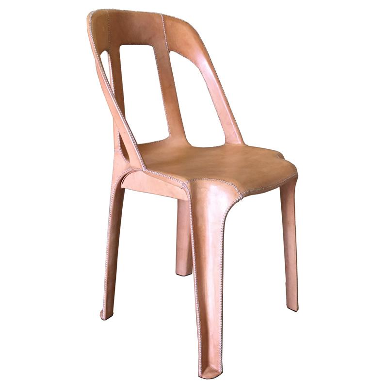 Imagen silhoueteado de la silla Cheap & Chic mediana forrado en cuero natural PN912M de Sol&Luna