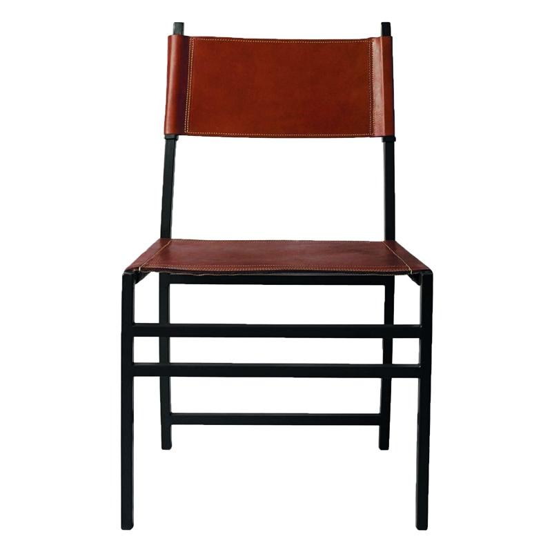Imagen de la silla Luna, silhoueteado con una estructura de metal y el asiente y el respaldo de cuero color natural,