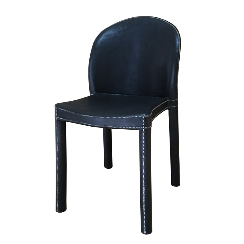 Silla Redonda, silla de melamina apilable con respaldo redondo y forrada en cuero negro