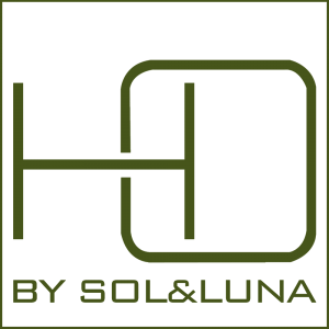 The logo from HO by Sol&Luna, a square with HO in big, representing Home in Order and below written in green by Sol&Luna