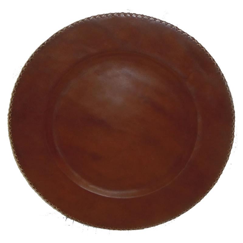 Bajoplato Redondo forrado en cuero marron PN929 de Sol&Luna