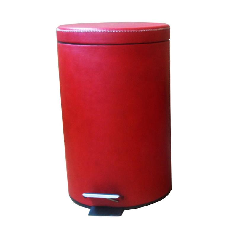 Cubo Grande cuero rojo PB963L tapa cerrado