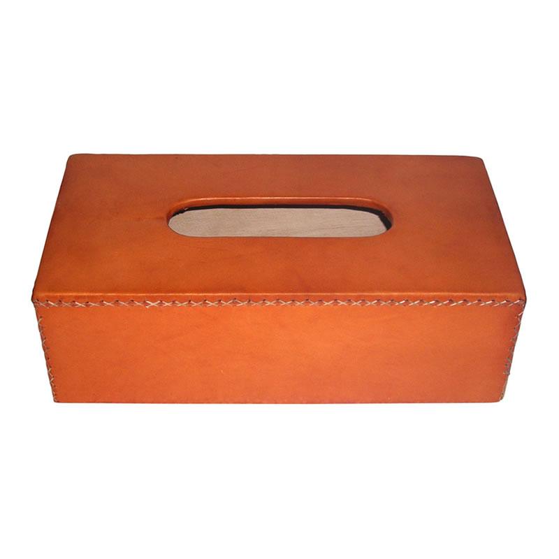 Caja de kleenex rectangualar realizada en madera y forrada en cuero natural