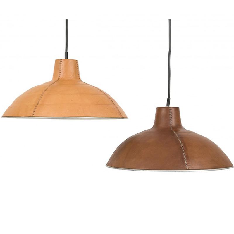 dos lámparas de techo una forrada en cuero natural y la otra en marrón