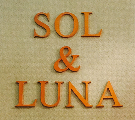 Image of the Sol&Luna logo, in leather