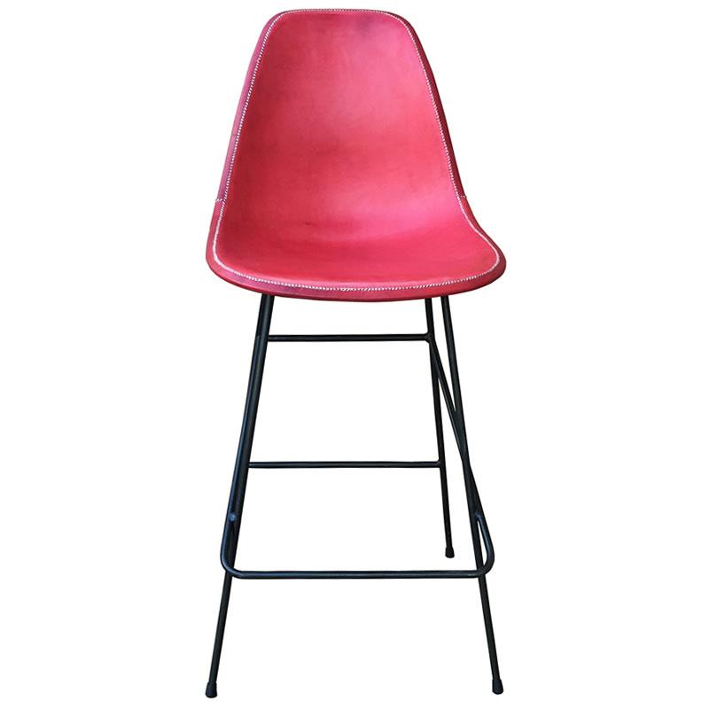 Taburete Beto estructura de hierro y asiento forrado en cuero rojo PN803BL Sol&Luna